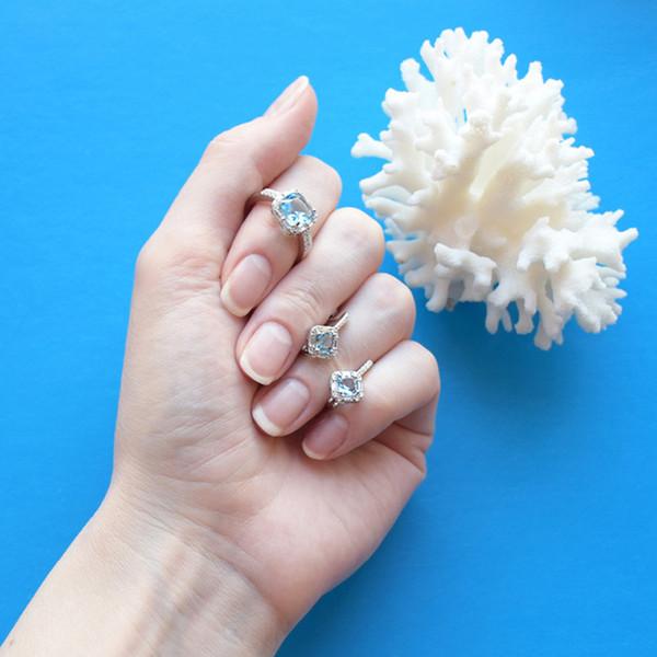 Японский Горячий Квадрат Синий Циркон Принцесса Кольца с Кристаллом Простой Обручальные Кольца для Женщин Свадебные Украшения Anillos