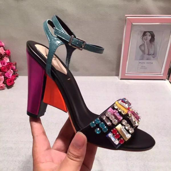 Fashion Luxury Designer Sandali donna 2019 Colorful pop Luxury Designer Sandali primavera ed estate Sandali in pelle Zeppa tacco alto 9,5 cm