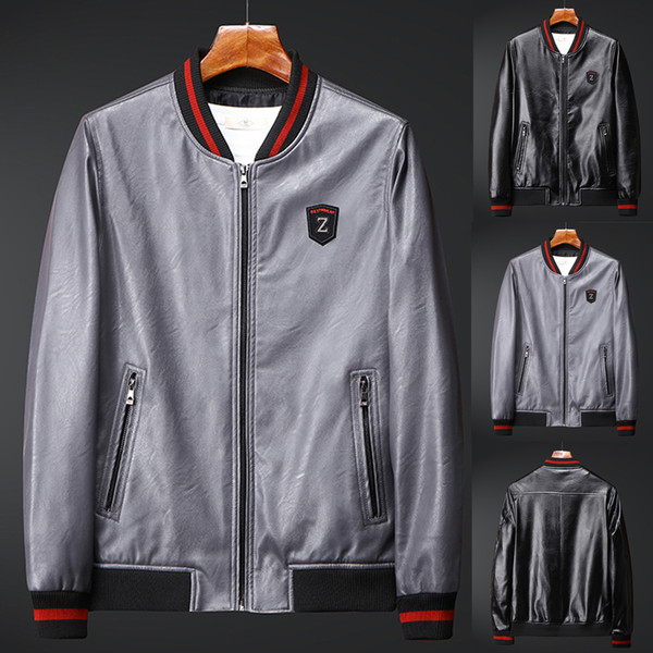 Mens Casual Vestes Manteaux Hommes Automne Casual Mode Vestes Mens Zipper Patchwork Mince Veste En Cuir Veste Manteau Jaqueta