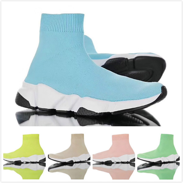Paris Speed Trainers Knit Sock Boot Shoe Luxury Ice Cream Pink Blue Green Designer Mens Womens Sneakers Cheap High Casual Boots With Box