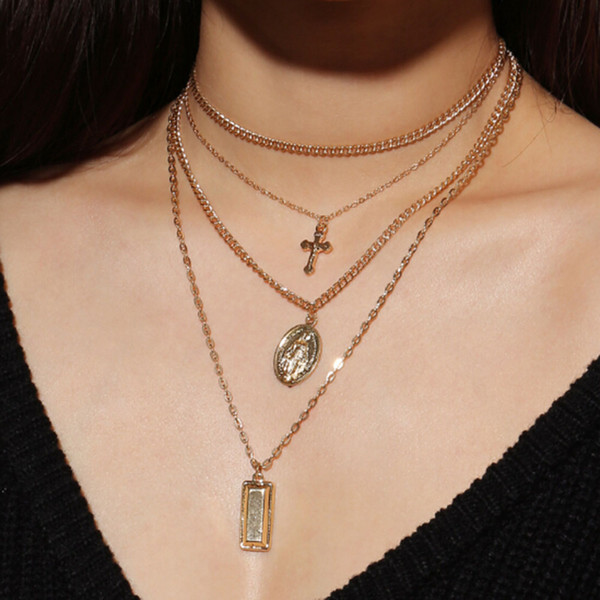 Boemia cor de prata de ouro cruz em camadas colar de jesus virgem maria cadeia colar de pingente de presente do dia da páscoa para as mulheres de jóias