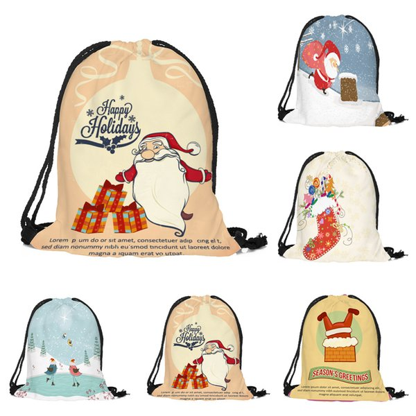 2019 new drawstring storage bag merry christmas candy backpack satchel rucksack bundle pocket storage bag dropship y820