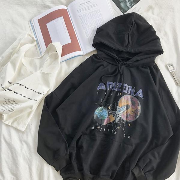 2019 новый женский свободный восстановить звезда дирижабль печать черный тонкий пуловер о-образным вырезом Hoddie толстовка девушки белый серый толстовки
