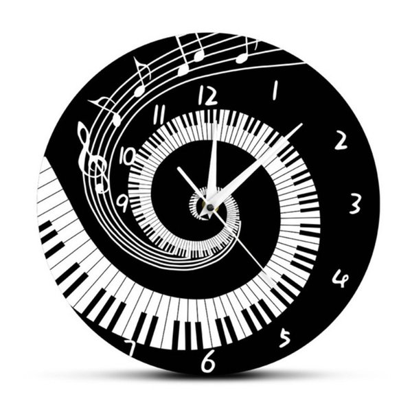 diy piano europe design wall clock 3d wall clock decor for 2mm acrylic still life living room stickers 2018 new - from $40.87