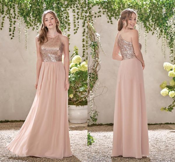 Rosa de Ouro Lantejoulas Top Longo Chiffon Praia 2019 Vestidos de Dama de Honra Sem Encosto de uma Linha Babados Blush Rosa Da Dama de honra Vestidos BM0151