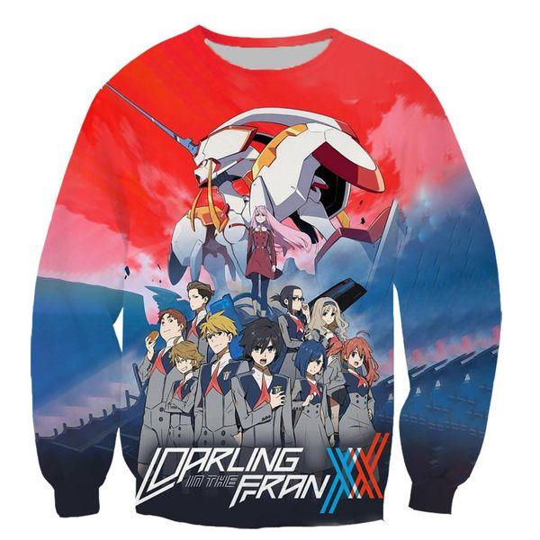 Anime DARLING in the FRANXX 3D color printed sweatshirts unisex hip hop style streetwear casual sweatshirt hooded top