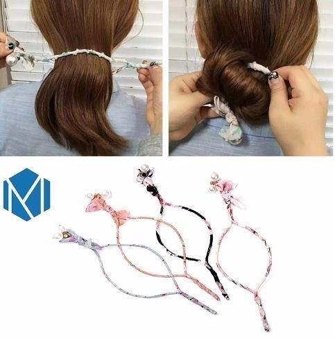 2019 Big Pearl Korean Accessories Women Hair Stick Easy Bun Maker Iron Wire Tools Hair Donuts Braid Hairband