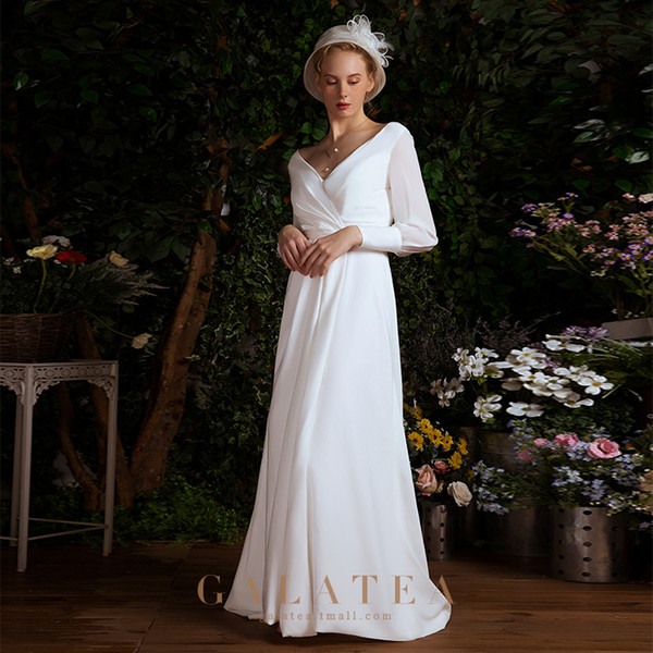 2019 Simple sexy wedding dress,white,deep v-neck,backless,court train,high waist style,split front,slim,long sleeve,modern