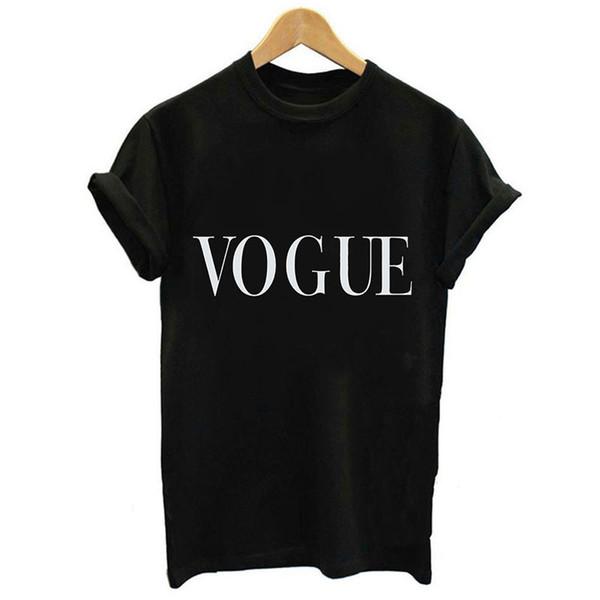 2019 Mode Eté Cool Harajuku Blouse Femmes Noir À Manches Courtes O-Cou Tumblr Streetwear Top Shirt VOGUE Lettre Imprimer Blouse