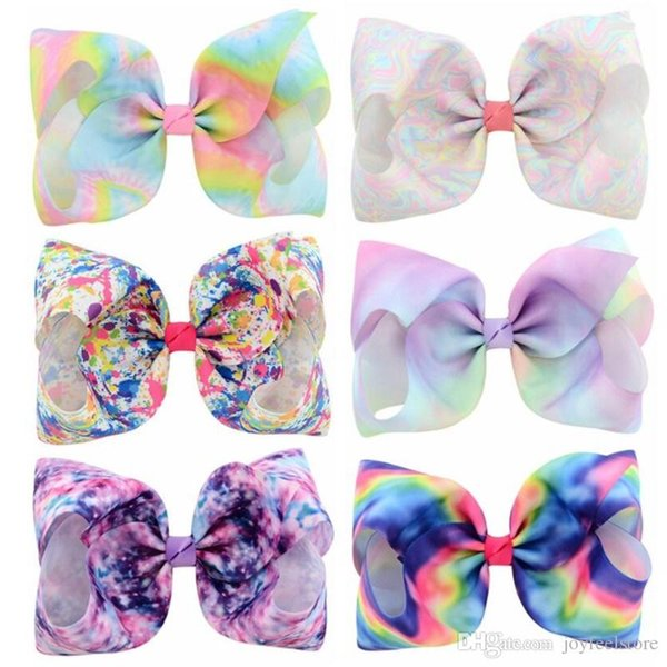Fashion 8 Inch Large Hair bows Accessory Handmade Kids Baby Solid Colorful Ribbon Rhinestone Bows Hair Clips For Girls