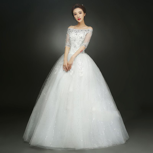 Off Shoulder Wedding dress New Korean style wedding dress Plus Size Red wedding dress