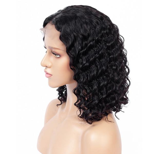 Derin Dalga Dantel Ön İnsan Saç Bob Peruk Brezilyalı Remy Saç 13x4 Doğal Saç Çizgisi Tutkalsız Kısa kıvırcık Dantel Ön Bob Peruk