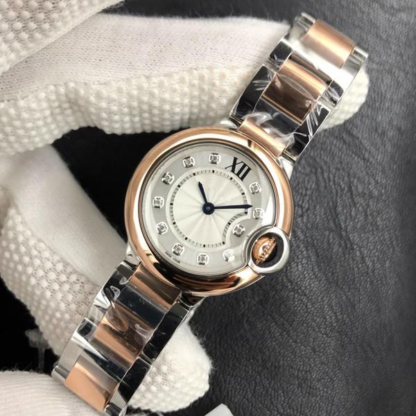Montre de luxe 28mm Ballon Montre à quartz en acier bande 057 Mouvement à quartz suisse des femmes V6 blanc montres étanches