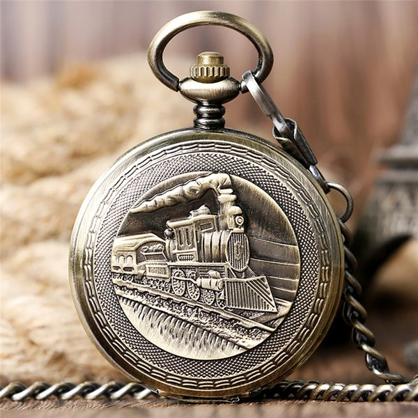silver/bronze/golden locomotive train pocket watch men women mechanical hand wind skeleton watch fob pendant chain roman number dial gift, Slivery;golden