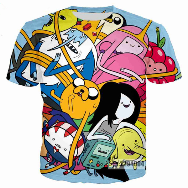 Newest Hot Sale Cartoon Adventure Time on Acid T Shirt 3D Print Men/Womens Unisex Funny Summer Round Collar Short Sleeve Casual Tops K739