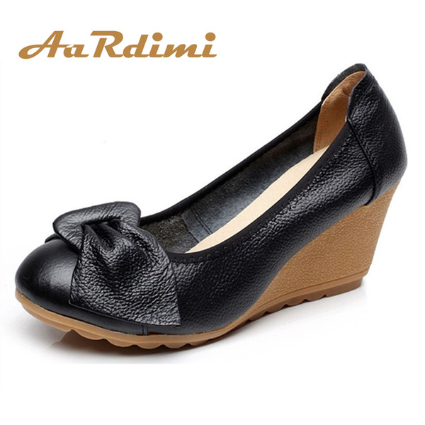 Designer Dress Shoes AARDIMI Increasing Vintage Mary Janes Women Platform Genuine Leather Spring Slip On High Heels Wedges Women Pumps