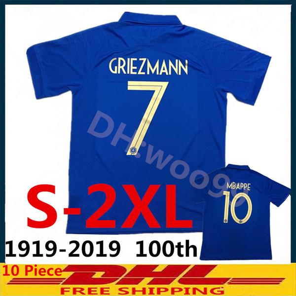 gran tamaño S-XXL Nuevo equipo de Frence Maillot 1919-2019 Sudadera de fútbol de centenario de edición especial GRIEZMANN MBAPPE POGBA Jersey de fútbol