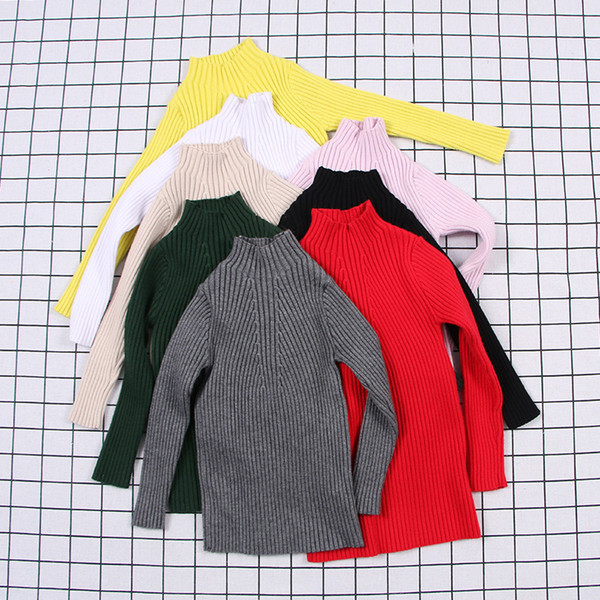 Baby Girls Ribbed Sweater 2019 Girl Sweaters Solid Candy Color Kids Sweaters Autumn New Knitted Kids Clothing Girls Pullover 1-7