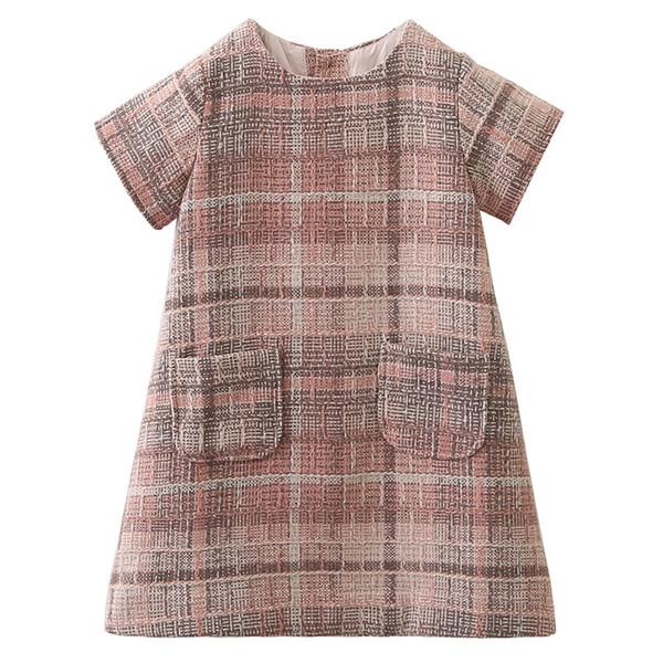 Yeni tasarım bebek kız sonbahar güz etekler ızgara kafes çocuk giyim elbise çocuklar bluz gömlek butikler giyim