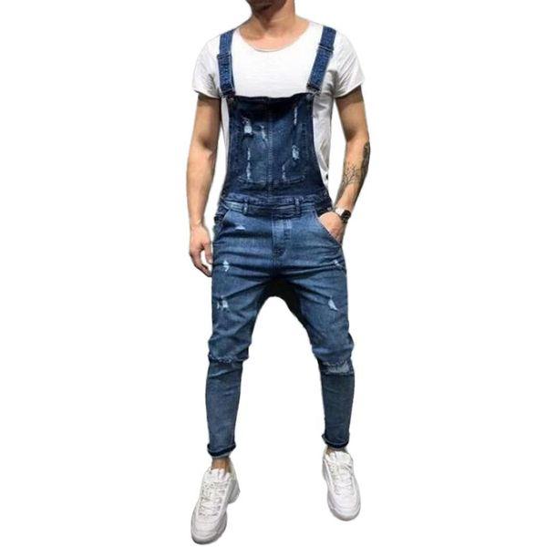 Men Casual Ripped Pocket Medium Waist Spring, Summer, Autumn Ankle Length Buckle Long Jeans Bib Pants Loose