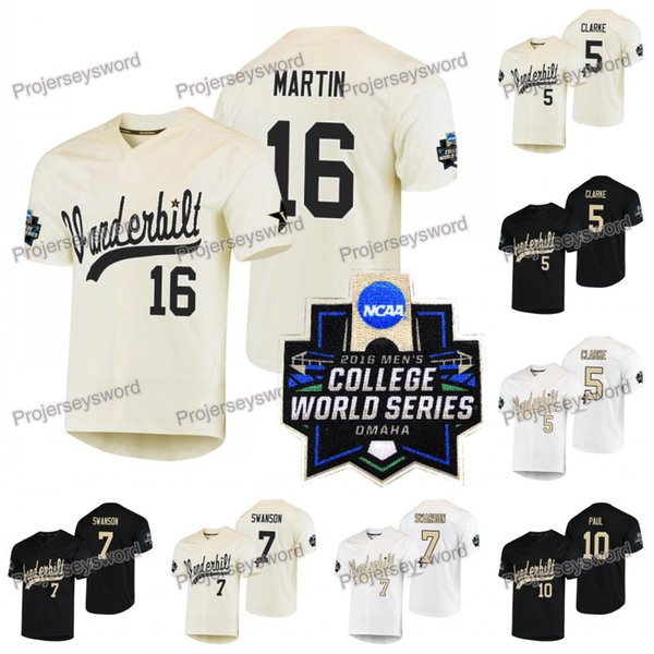 NCAA 2019 Kolej Dünya Serisi Beyzbol Forması 5 Philip Clarke 7 Dansby Swanson 10 Ethan Paul 16 Austin Martin Özel Büyük Uzun Boylu Formalar