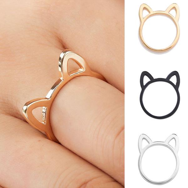 Mulheres 925 anéis de prata simples bonito orelha de gato projeto anel de dedo preto banhado a ouro cat jóias