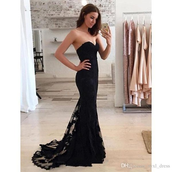 Latest Mermaid Prom Dresses 2019 Sexy Illusion Sweetheart Black Tulle Appliques Lace Formal Dresses Party Wear bohemio vestido de novia