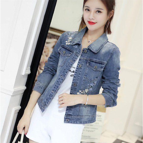 2019 Jeans Jacket Women Korean Plus Size Coat Denim Jacket Embroidery Coats and Jackets Women Chaqueta Mujer 30893 KJ2335