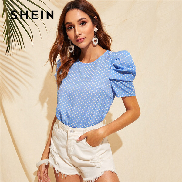 SHEIN Keyhole Back Puff Sleeve Polka Dot Summer Blouse Women Clothes 2019 Blue Casual Round Neck Short Sleeve Ladies Tops