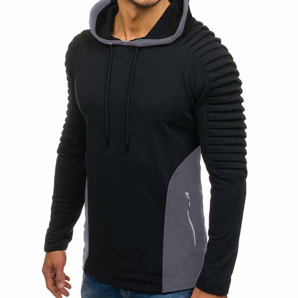 Mens Fashion Draped Hoodies Solide Frühling Herbst Neue Casual Hooded Sweatshirts Pullover