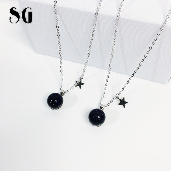 SG 2019 new arrival 925 Sterling silver Ball Bead Blue Sand necklaces pendants fit fashion jewelry chain necklace women for gift