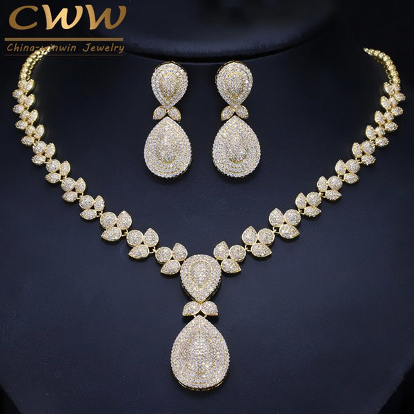 CWWZircons Noble Micro Pave Cubic Zirconia Stones Luxury Dubai Gold Color Bridal Wedding Necklace Jewelry Sets For Women T157 C19010301