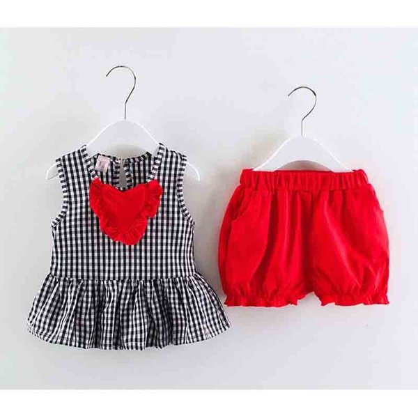 good quality 2019 summer baby girls clothing sets plaid sleeveless T-shirt+solid color shorts 2pcs suits for bebe casual clothes