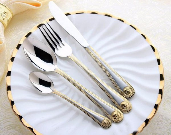 Hot selling 4Pcs Medusa Head Gold Cutlery Stainless Steel Flatware Set Tableware Dinnerware Knife Spoon Fork
