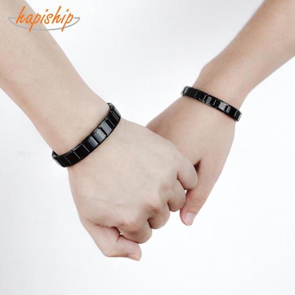 Hapiship 2018 Fashion Men&Women Lovers Jewelry Black Color Stainless Steel Bracelet Bangle Girls&Boys Wedding Gift G072