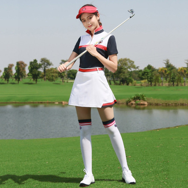 PGM Golf Clothes Female Short Divided Summer Woman Pleated Tennis Mini Skirt T-shirt Lining XS S M L XL