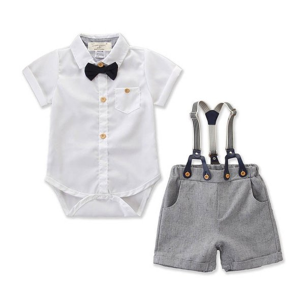7dcc2fe215c Ins Newborn Outfits baby boy clothes Summer shirt boys romper+ suspender  short Boys Clothing Sets baby