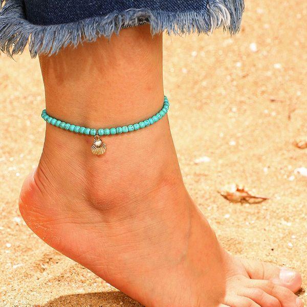 Vintage Fashion Fußkettchen Beach Style Blue Rice Perle Shell Legierung Anhänger Armband Barfuß Sandalen Fußschmuck