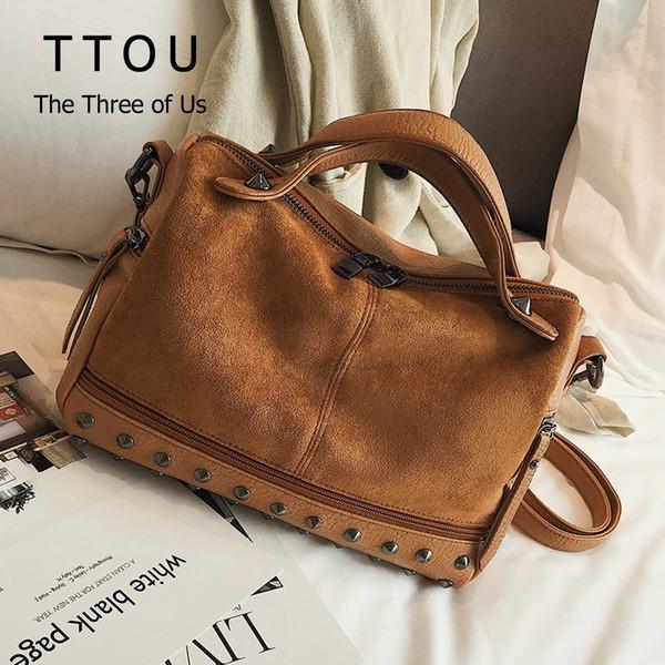 TTOU Women Suede Leather Handbags Large Capacity Shopping Bag High Quality Big Casual Tote Bag Female Shoulder Bag Soft Bolsas