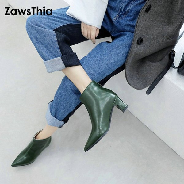 ZawsThia botines mujer 2019 new winter pointed toe med heels woman pumps stiletto shoes green russian zip ankle boots size 47 48