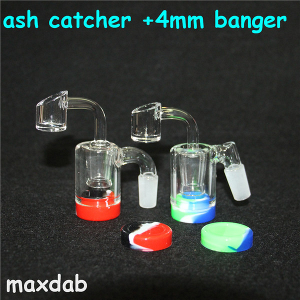 Classical glass Ash catcher with quartz banger 14mm 18mm arm perc catcher more ash silicone dab jar wax containers glass water bong