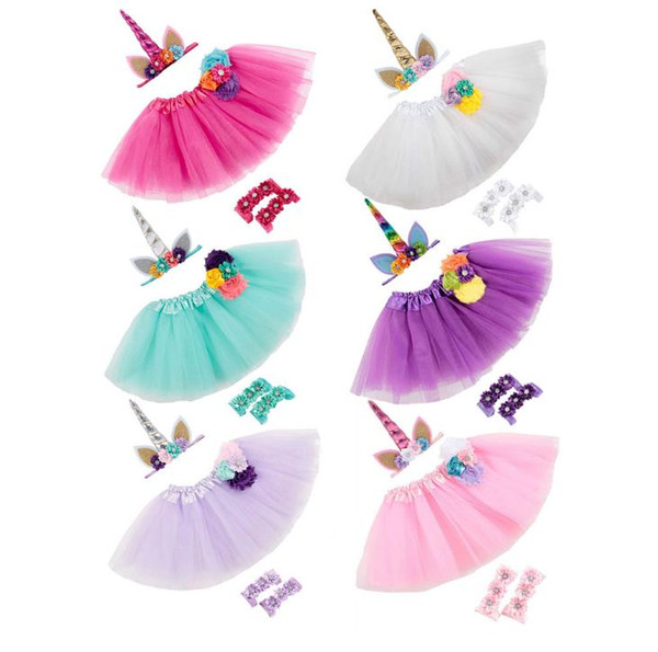 Infant Babies 3pcs Set Party Photos Clothes Set Flowers Unicorn Headband + Lace Tulle Tutu Skirt + Cover Barefoot First Walker Shoes 14422