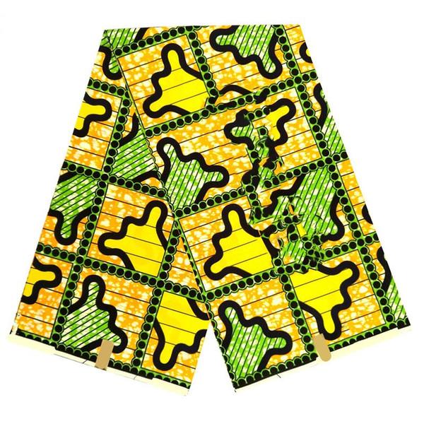 Recién llegado amarillo y verde tela de cera estampada de algodón real africano para ropa de alta calidad SP035