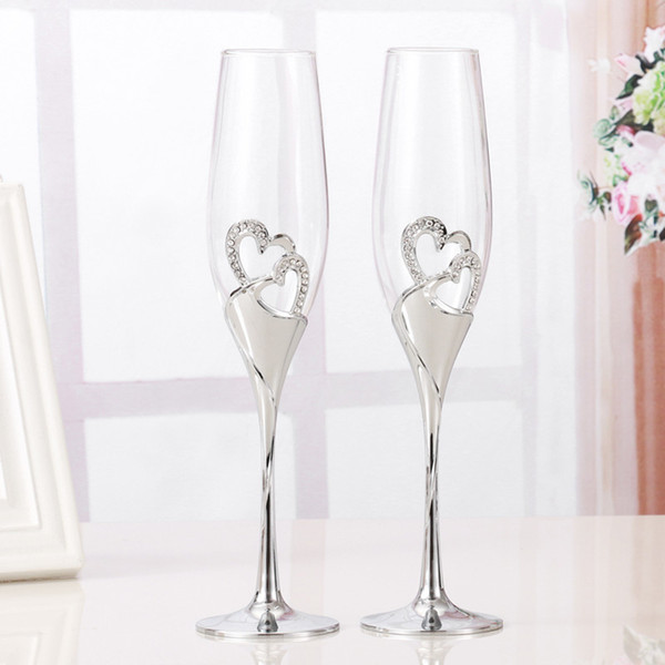 2 PCS /Set Crystal Wedding Toasting Champagne Flutes Glasses Drink Cup Party Marriage Wine Decoration Cups For Parties Gift Box