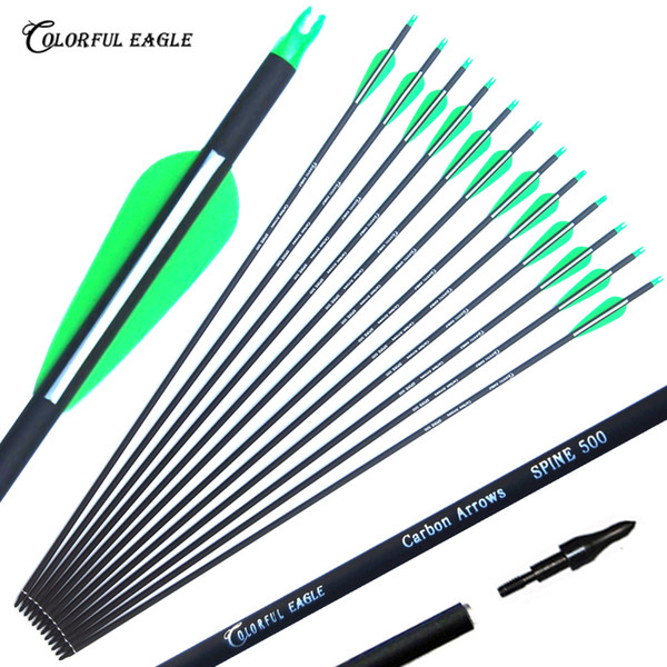 """best selling New Carbon Arrow 28""""30""""31"""" Archery Arrows Spine500 Changeable Arrowheads Plastic Feathers for Hunting Compound Bow Arrows"""
