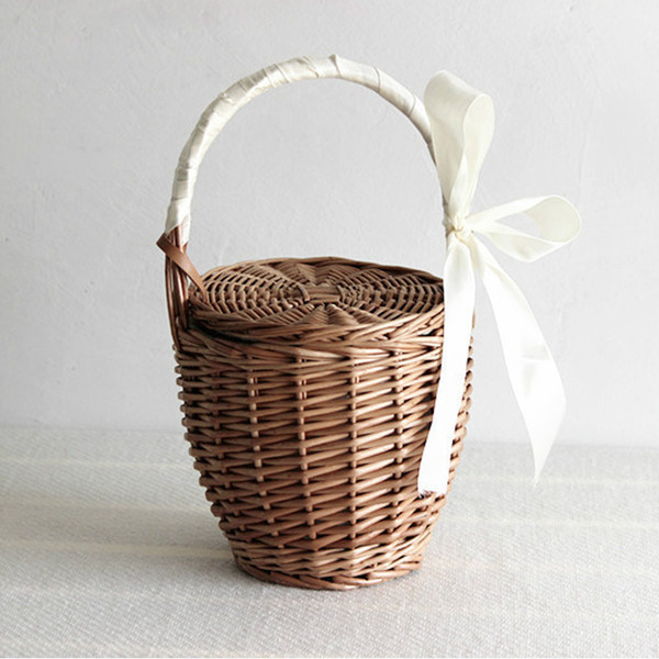 Women Beach Handbag Basket Straw Hand Bag Ribbon Cover Fashion 2019Summer New Wicker Small Retro Rattan Tote Travel Clutch Bag