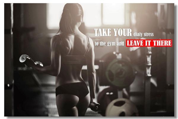 Compre Entrenamiento De Fitness Cotizaciones Inspiración Motivacional Muscle Gym Font Decoración De Pared Arte Impresión En Seda Poster 654 A 13 26