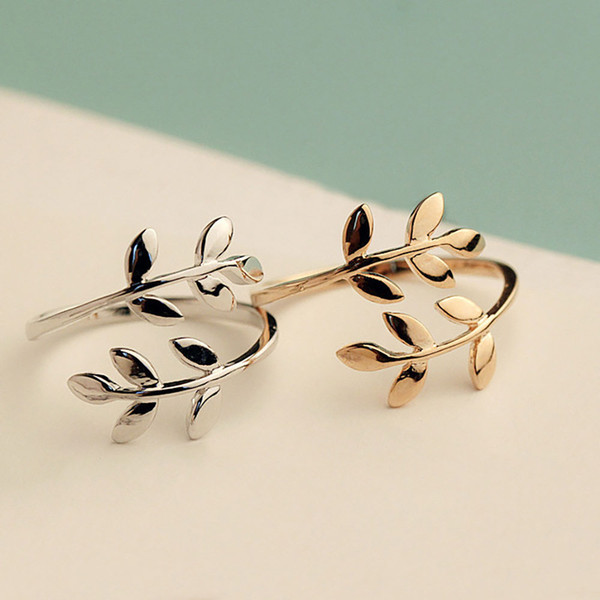 Fashion Gold Silver Rose Color Tree Branch Leaves Open Ring for Women Wedding Rings Adjustable Knuckle Finger Jewelry