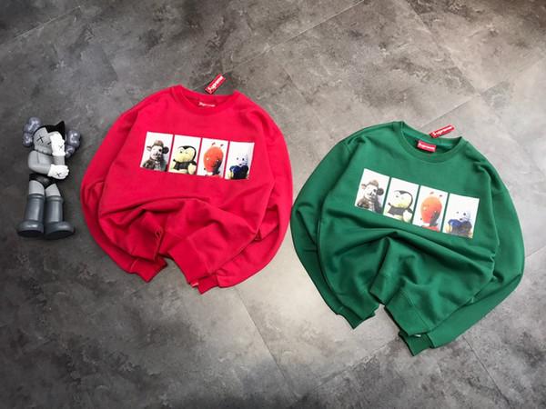 19AW Neue Ankunft SU luxuriöse Vier Cartoon Animal-Prints plus Samt-Sweatshirt Männer Frauen lässig sportlich Herbst Winter Pullover Größe M-L