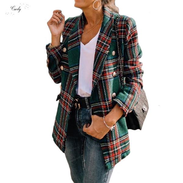 Bahar Vintage Ekose Tweed Ceket Kadınlar Yeni Streetwear Çift Breasted Cep Ceketler Uzun Kollu Coat Veste Düğme Femme Modis
